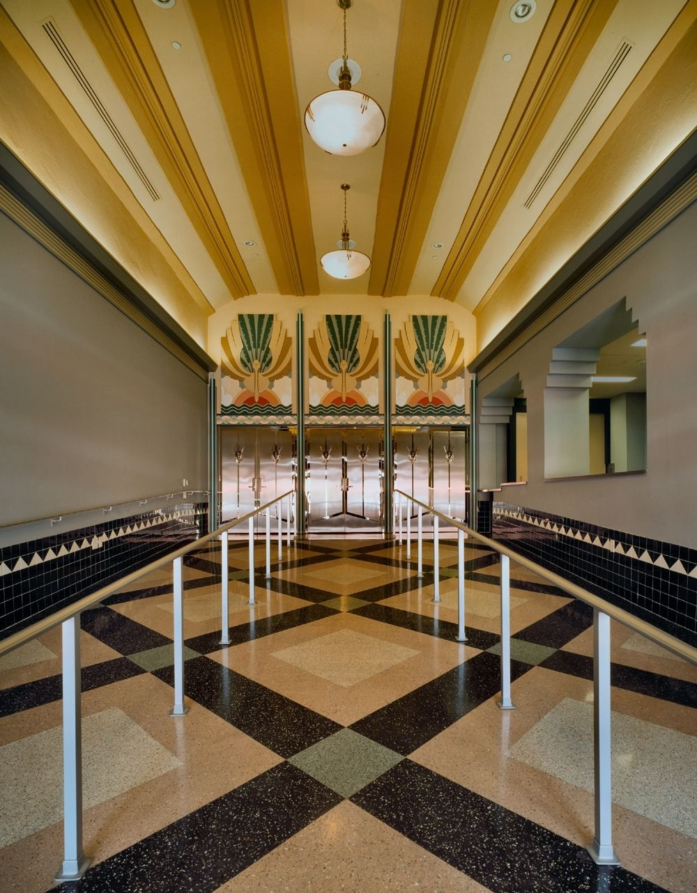 The pristine terrazzo at the Colony Theater in Miami Beach features bold lines and geometric patterns.
