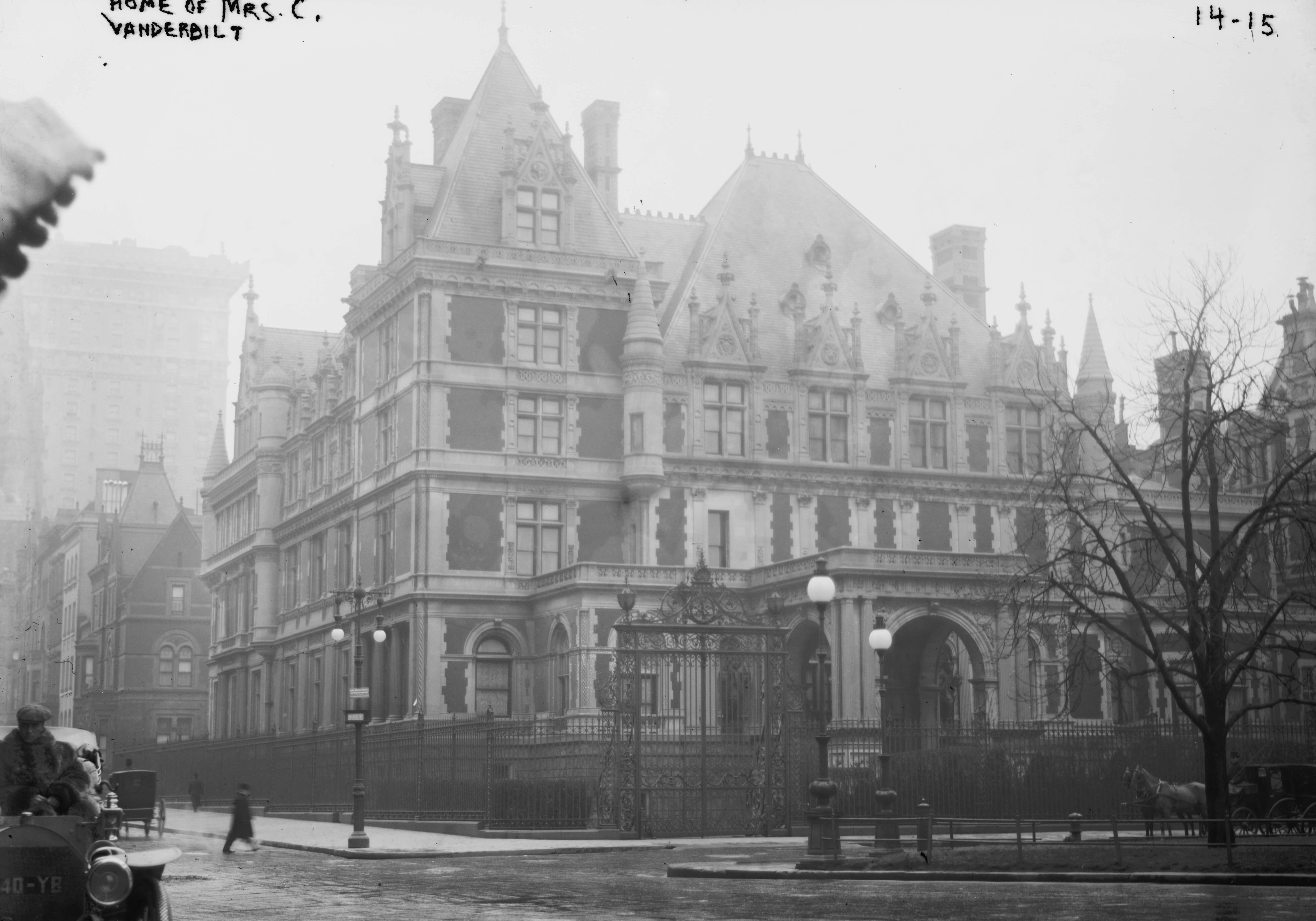The Cornelius Vanderbilt II House, 1 West 57th Street, New York City. In 1890, Italian immigrants known as 'terrazeri' were hired to lay terrazzo floors inside the grandiose Vanderbilt residence.